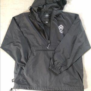 Black hooded water repellent quarter zip